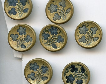 "Victorian Perfume FLOWERS Floral TEAL BLUE Buttons Matching Set of (7) Antique Metal Perfume Velvet Brass 5/8"" Pictorial Picture size 2471"