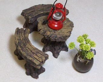Fairy or gnome Garden miniature wood table and benches with lantern and flower pot