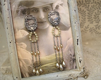 girls and their pearls one of a kind vintage assemblage earrings . vintage monogram sterling luggage tag + pearls and chains