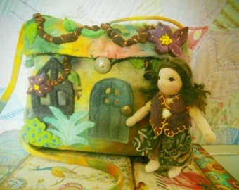Cottage Purse and Tiny Waldorf Doll  - a Best Seller - You choose Colors