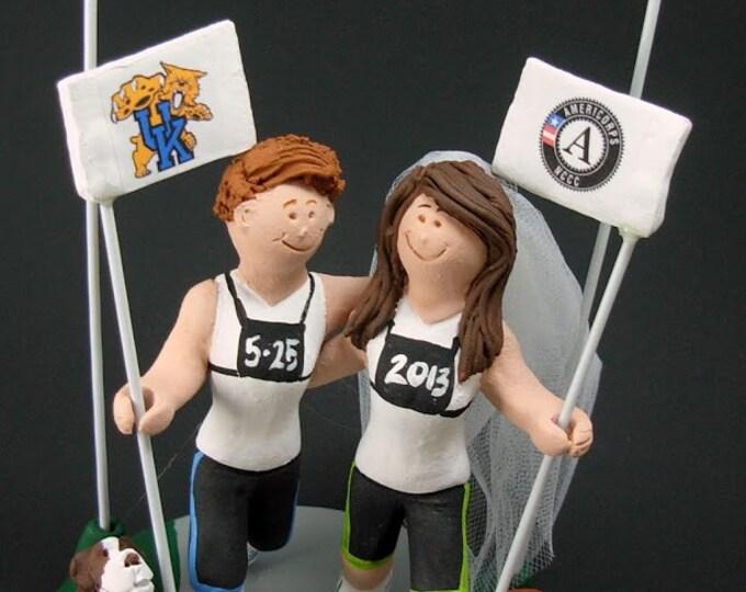 Gay Brides Marathon Running Lesbian's Wedding Caketopper, Wedding Cake Topper, Wedding Cake Topper for Lesbians, lesbian marriage figurine