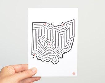 "OHIO Maze 5x7"" Postcard | Hand Designed by David Birkey | Cincinnati/Cleveland/Columbus/Toledo"