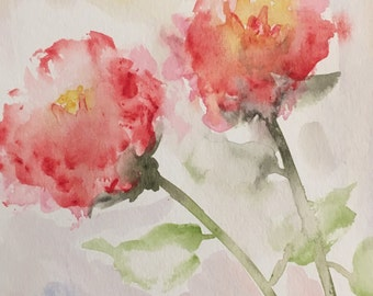 Original Abstract Floral Watercolor Painting