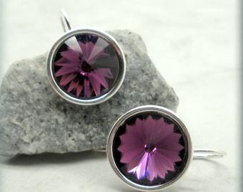 Amethyst Rivoli Earrings, February Birthstone Earrings, Swarovski Crystal Earrings, Sterling Silver, Dangle, Bridesmaid Gift (SE501)