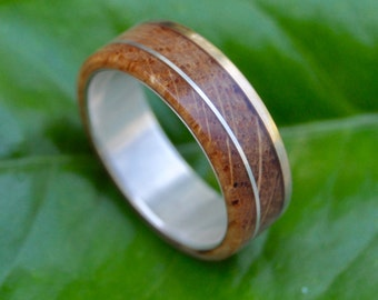 Bourbon Barrel Gold and Silver Un Lado Asi Wood Ring - wood wedding ring with recycled 14k yellow gold edge, whiskey barrel ring