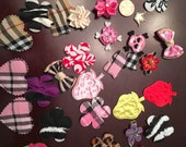 Destash Lot of 30 Appliques Hair Bow Clips Centers Padded Embellishments