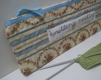 Quilted Knitting Organizer Case, blue, Knitting Needle Case, Quilted, Project Bag, rose pink, craft organizer, knitting organizer