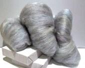 """silver fiber art batt, wool, wet, nuno, needle felting, spinning, """"STERLING"""", pale purple, grey, white, pale olive, pale blue, pale beige"""