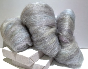 "silver fiber art batt, wool, wet, nuno, needle felting, spinning, ""STERLING"", pale purple, grey, white, pale olive, pale blue, pale beige"