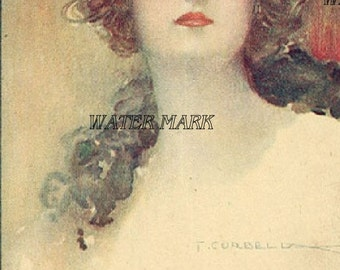 Digital Download,Beauty*Gorgeous girl*Corbella* Greeting  cards,place cards, altered art,sewing,framing,tags and more