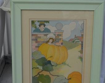 PETER  Peter pumpkin eater nursery rhyme print book plate vintage framed*O darling*Nursery*Home decor