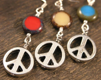 SALE-You choose color-Peace signs with czech glass beads in turquoise blue, red or ivory handmade silver earrings