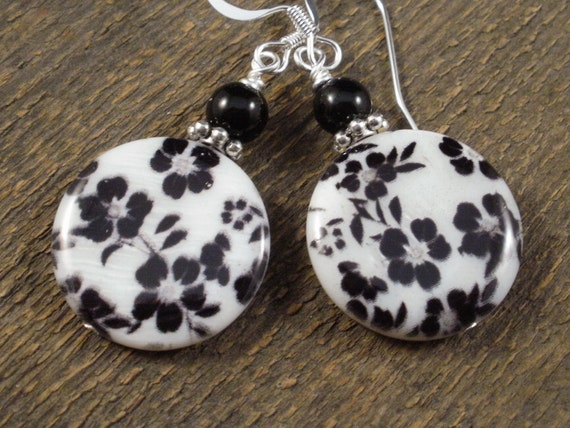 Cute black flowers on genuine shell beads, glass and silver handmade earrings