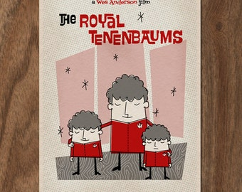 Movie Poster THE ROYAL TENENBAUMS 16x12 Print - Mid Century Design