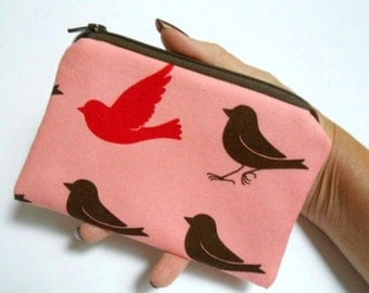 Birds Zipper Pouch Little Coin Purse ECO Friendly Padded NEW Birds on Pink
