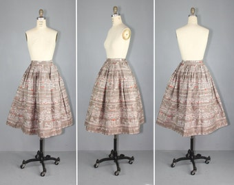 1950s skirt / novelty print / AMSTERDAM CANALS vintage cotton skirt