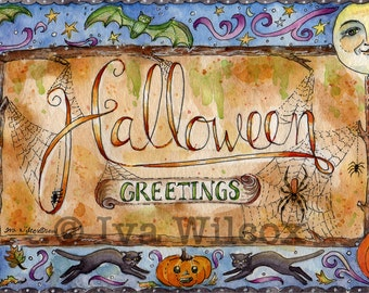 Halloween Greetings - PRINT of my Original Watercolor Painting Folk Art