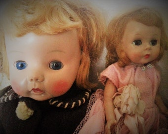 """Print, """"Two Little Sisters"""", 8"""" x 10"""" color photo print of two adorable little dolls, so cute and wonderful for framing"""