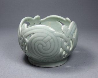 Celadon Celtic Knotwork & Spirals Candle Globe