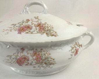 Austrian Soup Tureen, Vintage Rollstara Austria Porcelain, Elegant Dining or Wedding Table Decor, Crossed Swords in Shield Mark