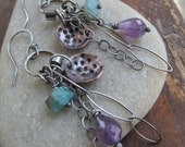 Silver BOHO Charm Earrings Dangling Purple Gemstone wire wrapped Stamped Earrings