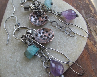 Silver BOHO Charm Earrings Dangling Purple Gemstone wire wrapped Stamped Earrings