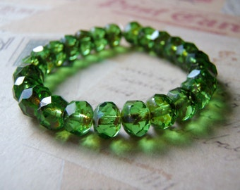 Peridot Green Beads 8 x 6 mm Czech Glass Rondelle Premium Quality 10 Beads