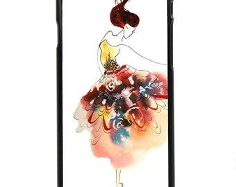 "Phone Case ""Tiny Dancer"" - Watercolor Art Print Ballerina Woman Dancing Girl Ballet Tutu Fashion Sketch By Olga Cuttell"