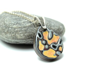 Detroit Fordite Necklace Swirled Recycled Vintage Auto Paint Jewelry Orange Yellow Silver Round Medallion Sterling USA Retro Glitter Liquid