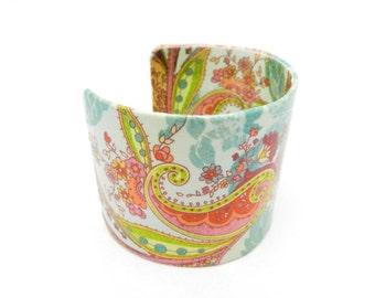 Bohemian Bracelet, Bracelet Cuff, Cuff Bracelet, Decoupage Cuff, Decoupage Jewelry, Hippie Paisley Bracelet, Artisan Made by Durango Rose
