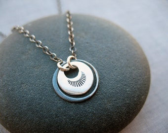 Sterling Silver Disc Necklace, Everyday Necklace, Circle Necklace, Minimalist, Dainty Silver Necklace, Layering Necklace, Stamped Metal