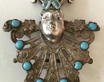 Spirit doll Vintage pendant woman miniature art doll   Artisan Jewelry assemblage  OOAK  vintage glass flower antique shoe clip turquoise