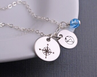 Custom Compass Necklace, Compass Jewelry, Navy Wife Gift, Military Mom, Navy, Sailor, Nautical, Silver Necklace for Boat Lover