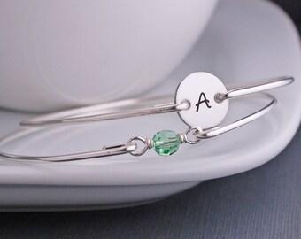 Peridot Bracelet, August Birthstone Bracelet Set, Green Bracelet Set, Personalized Swarovski Crystal Birthstone Jewelry