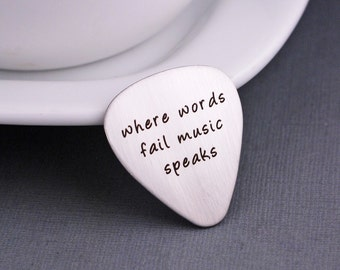 Personalized Guitar Pick, Where Words Fail Music Speaks Guitar Picks, Birthday Gift for Musician, Guitarist