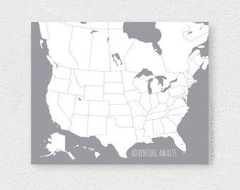 USA and Canada Map, North America Map, Canada Travel Map, Adventure Awaits, Travel Lover, First Anniversary Gift for Husband or Wife, Diy