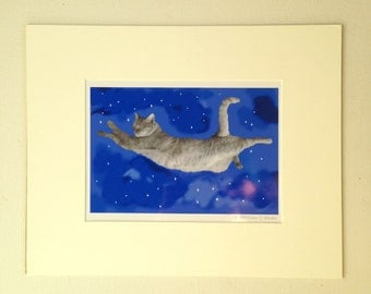 The Flying Cat Matted Print