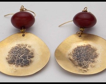 MIRAGE - Handforged Hammered Antiqued Bronze - Amber Resin - Dramatic Statement Earrings