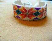 Native American Style loomed Geometric Floral design bracelet