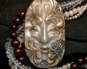 Winter Greenman Face Cab Frosty Pearl & Metallic Polymer clay handmade Cabochon for Christmas Hannukkah