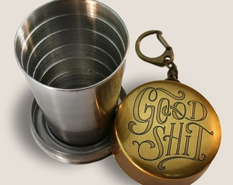 Good Shit - Portable Shot Glass Collapsible Cup by Trixie & Milo comes in a GIFT BOX - Great Men's Gift and Camping Accessory