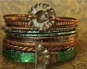 green and copper boho GYPSY bangle stack .... smashed knitting needle BRACELETS and beaten bollywood bangles