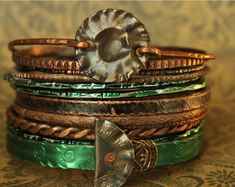 green and copper boho GYPSY bangle stack .... smashed knitting needle BRACELETS and beaten bollywood bangles