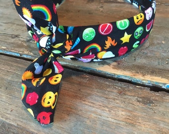 Emoji Printed Knot Tied Hairband Headband