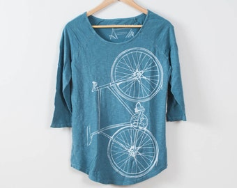 Women's Minor League Fixie Baseball Tee, Peacock Blue-XS