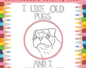 Printable Coloring Page, Pug Coloring Book Page, Adult Coloring Page, Adult Coloring Book, Coloring Pages For Adults,  Coloring Pages