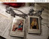 Vintage Unusual Saint Simon Stock Steel Chain Scapular Necklace Our Lady of Mt Carmel