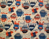 Sleepy Monsters - Snuggle Flannel Fabric BTY - Red, White & Blue