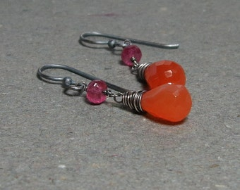 Orange Carnelian Earrings Pink Tourmaline Earrings Oxidized Sterling Silver Earrings Gift for Wife