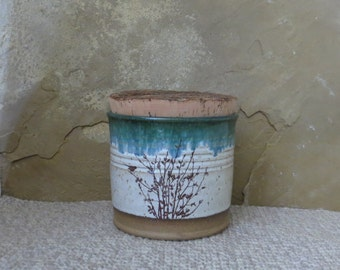 Canister Storage Container - Handmade Stoneware Pottery Ceramic - White and Spruce Green - Willow - 3-1/2 cups